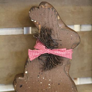 Easter Decor, Chocolate Bunny, Easter Bunny Decor, Primitive Easter, Rustic Easter Decor, Wood Bunny, Bunny Shelf Sitter