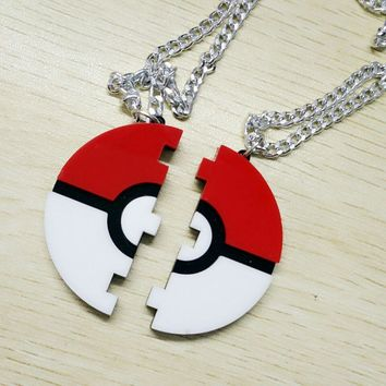 Pokeball Necklace Friendship Custom Engraving  Inspired Pendant Necklace, Pokeball Necklace,  Jewelry GiftsKawaii Pokemon go  AT_89_9
