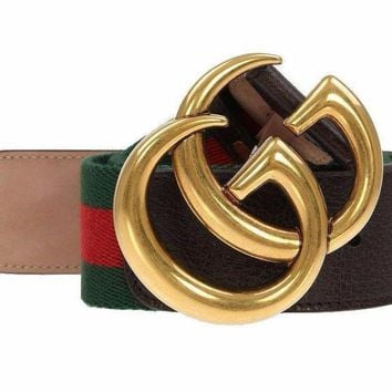 NEW GUCCI CURRENT WEB DETAIL CANVAS BROWN LEATHER DOUBLE G BUCKLE BELT