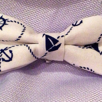 Blue and White Sailboat, Anchor, Nautical Bow tie - clip on -infant toddler, child, adult size - Nautical Hair Bow anchor bow