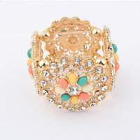 New Design Flower   Pulseiras  Femininas Luxury  Gold Plated  Alloy Hollow Out  Bracelets Bangles Jewelry for women Bijoux