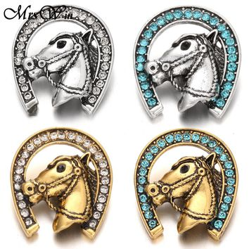 5pcs/lot New Gold Snap Button Jewelry Big Rhinestone Horse Metal Snap Button for 18MM Snap Bracelet Bangles Snaps Jewelry