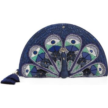 kate spade new york full plume peacock straw clutch | Nordstrom