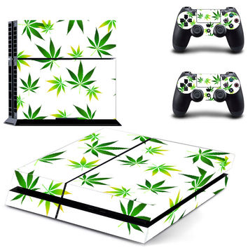 Green Leaves 2Pcs Protective Skins For Sony PS4 Controller + Vinyl Decal Skin Sticker Cover For Sony Playstation 4 Game Console