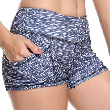 OVESPORT New Women Fitness Shorts High Elastic Printing Quick Dry Absorb Sweat Sexy Workout Colored Skinny Shorts