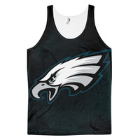 Philadelphia Eagles Logo National Football League NFL Sports Team Dye Sublimation All Over Print 3D Full Print Cotton Polyester Unisex Novelty Black White Green & Gray Tank Top