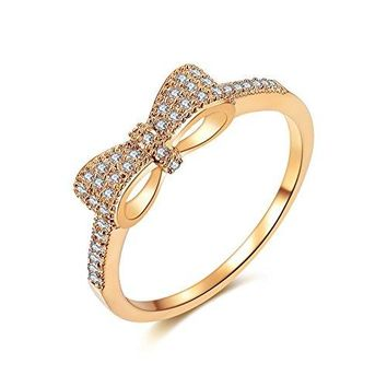 AUGUAU DIFINES Fashion Cute Bow Knot CZ 18k Gold Plated Eternity Band Engagement Promise Rings for Girls Women,Size 5.5 to 9