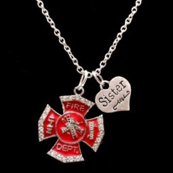 Firefighter Sister Red Maltese Cross Fireman Firefighters Gift Charm Necklace