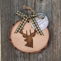 Deer Wood Ornament, Rustic Christmas Ornament, Woodland Ornament, White Pine Wood Ornament, Deer Gift, Cabin Ornament, Natural Ornament