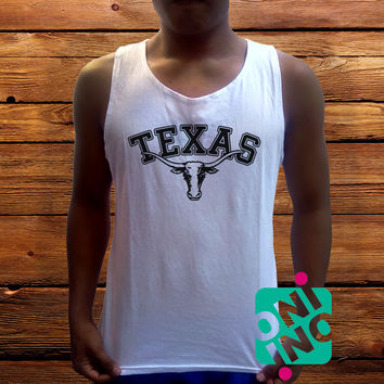 Texas Longhorn Logo Men's White Cotton Solid Tank Top