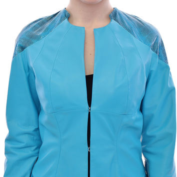 Vladimiro Gioia Blue Leather Snake Print Jacket