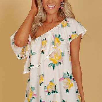 One Shoulder Flower Print Blouse Ivory