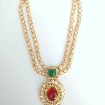 Double Layer Traditional Kundan Necklace with Matching Earring