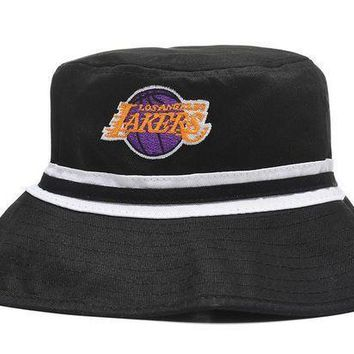 L.a. Lakers Full Leather Bucket Hats Black
