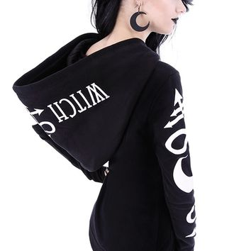Restyle Witchcraft oversized hood Gothic Alternative Goth black hoodie (2X)