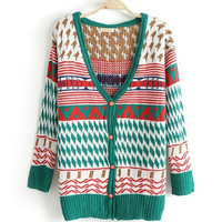 SEN FEMALE LINE DOUBLE JACQUARD DEEP V LONG-SLEEVED CARDIGAN from threelittlebirds