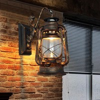 European Style Vintage Loft Lustre Kerosene Lantern Wall Sconce Lamp For Bar Coffee Restaurant Room Home Decor Lighting Fixture
