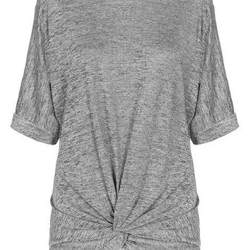 **Quiz Grey Glitter Knot Front Top - Tops & T-Shirts - Clothing