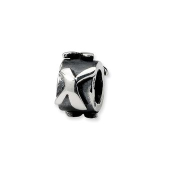 Sterling Silver Letter X, Alphabet Bead Charm