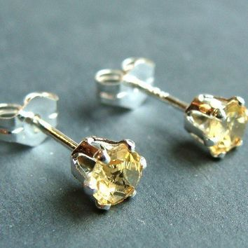 4mm Citrine Post Stud Earrings in Sterling Silver