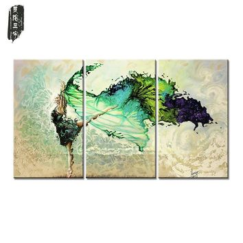 Drop-shipping Flower Canvas Painting Home Decor Wall Art painting Dancing Girl Wall Pictures for Living Room No Frame 3pcs