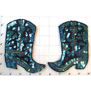 """Boot Pair with Turquoise and Black Sequins and Beads 5"""" x 4.5"""""""