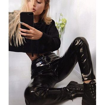 DCCKR2 Fornt Zipper PU Pants Flash pu leggings hot style thickened to keep warm in spring 2018.