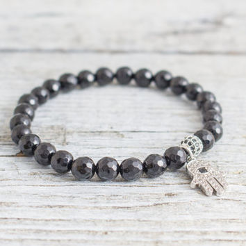 Black faceted onyx beaded stretchy bracelet with micro pave silver Hamsa hand charm, made to order bracelet,  mens bracelet, womens bracelet