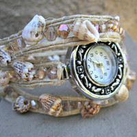 Natural Sea Shell and Crystal Triple Wrap Watch