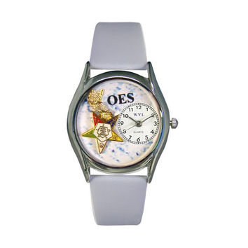 Order of the Eastern Star Baby Blue Leather And Silvertone Watch
