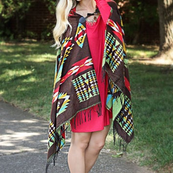 native tribe oversized poncho - brown