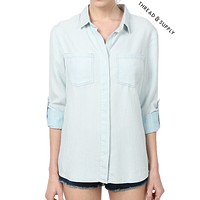PREMIUM DESIGN Chambray Button Front Stripe Shirt (CLEARANCE) (CLEARANCE)