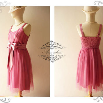 Amor Vintage Inspired Princess Romance Tulle Gorgeous Pretty Pink Wedding Prom Party Dress Fit S-M-