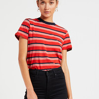 Stripey Crew Tee - Flame Stripe
