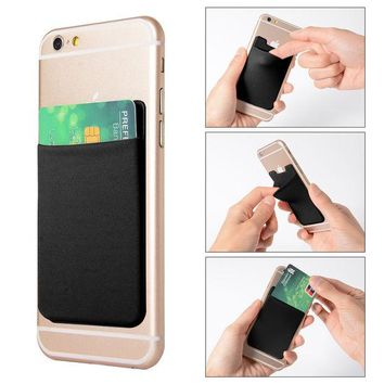 DCCKF4S 2pcs Elastic Lycra Cell Phone Wallet Case Credit ID Card Holder Pocket Stick On 3M Adhesive Black AC418+