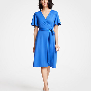 Flutter Sleeve Wrap Dress | Ann Taylor