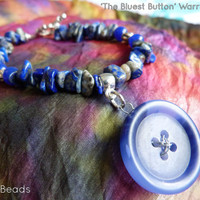 Blue Colon Cancer Button Charm Lapis Lapuli Warrior Spoonie Awareness Bracelet - CFS, ME, Alopecia, Huntingdon's, Anxiety Disorder