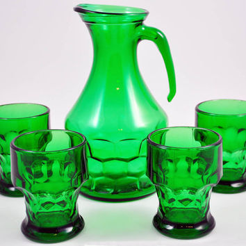 Vintage Pitcher Tumbler Italy Emerald Green by JollyPollyPickins