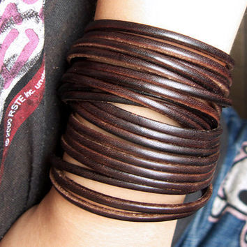 Double Wrap Sliced Dark Brown Leather Wrap Bracelet
