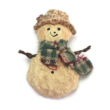 Enesco Snowman Pin Brooch - Plaid Winter Scarf and Hat - Snowsnickle Art by Linda Lindquist Baldwin 1997 Vintage 1990s Christmas Pin Winter