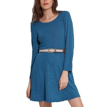 [15239] Long-sleeved Solid Color Straight Coat Dress Plus Belt