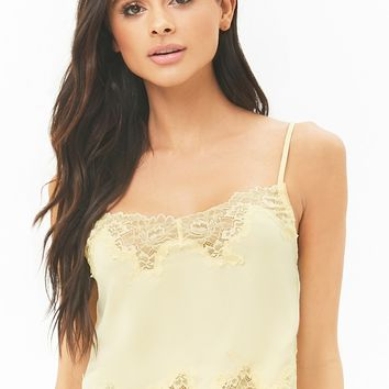 Satin Lace-Trim Cropped Cami