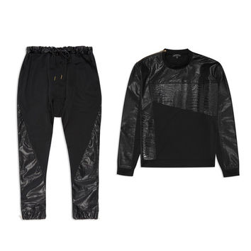 Black Croc Leather Sweatsuit