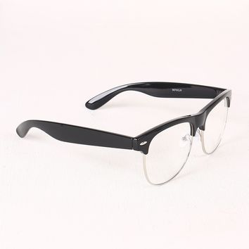 Semi-Wayfarer Design Crystal Clear Lens Glasses