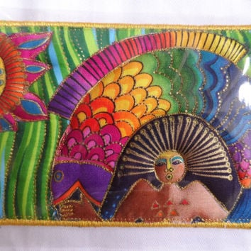 Quilted Postcard - Laurel Burch Postcard - Handmade Postcard - Fabric Postcard - Patchwork Postcard - Artist Postcard - Birds Post Card