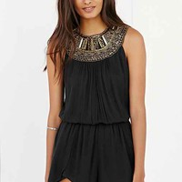 Ecote Ranya Jeweled High-Neck Romper- Black
