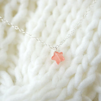 Wishing Star - Tiny Quartz Star & Sterling Silver Chain