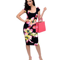 Black & Neon Hibiscus Floral Cap Sleeve Stretch Wiggle Dress