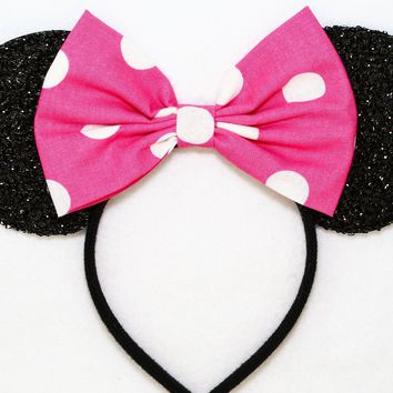 Classic Polkadots Collection - Black Sparkly Minnie Ears with Hot Pink Polkadots Bow