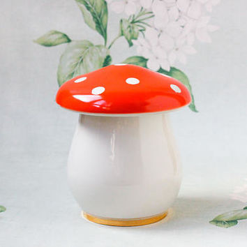 1960's Mushroom Porcelain Box / RARE Golden Tipped USSR Vintage Multipurpose Jewellery Box, Sugar Bowl, Soviet Agaric Shroom Jar - Коростень